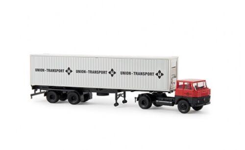 "1:87 #82206 Brekina Henschel HS 16 TS 40ft-Container-SZ /""Union Transport/"""