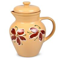 Clay Pitcher With Lid Hot Cold Drink Beige Made In Russia Hand Painted Sale