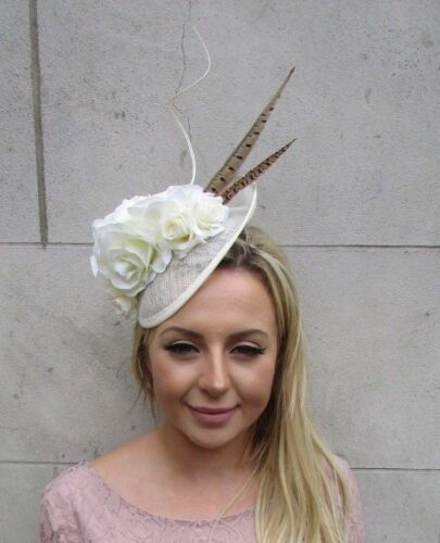 Ivory Cream Brown Pheasant Feather Rose Flower Disc Saucer Hat Fascinator 6069