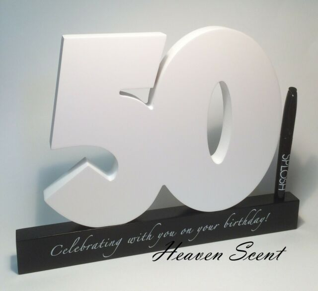 Happy 50th Birthday Gift Wooden Signature Number Great Gift Ideas by Splosh