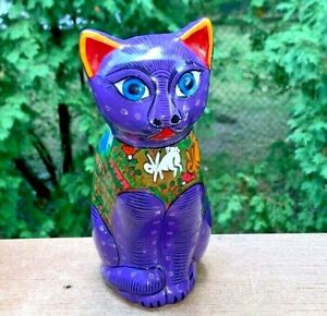 Mexican-Terracotta-Kitty-Cat-Figurine-Pottery-Earthenware-Statue-Handcrafted
