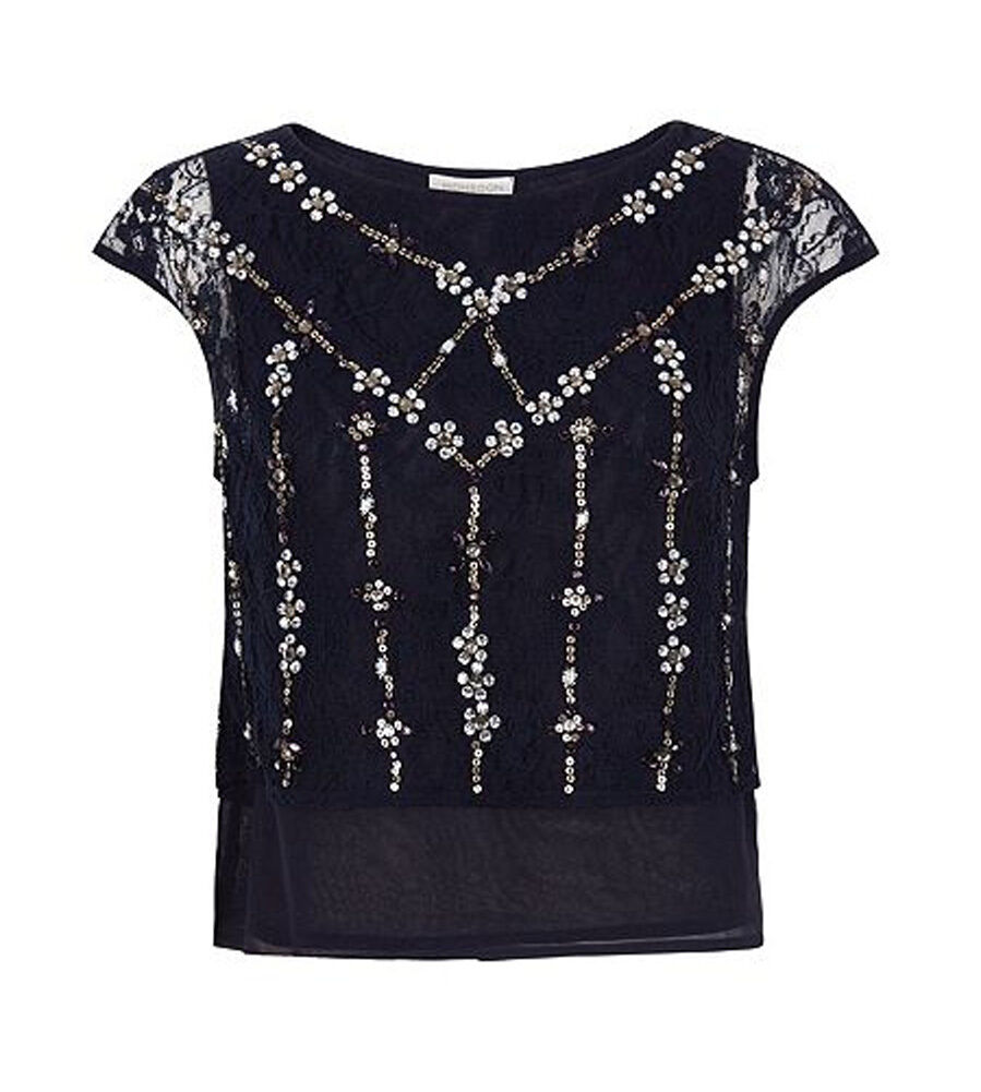 MONSOON Lola Embellished Lace Top Navy BNWT