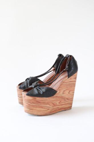 Jeffrey Campbell wood platform wedge heels Sz 8