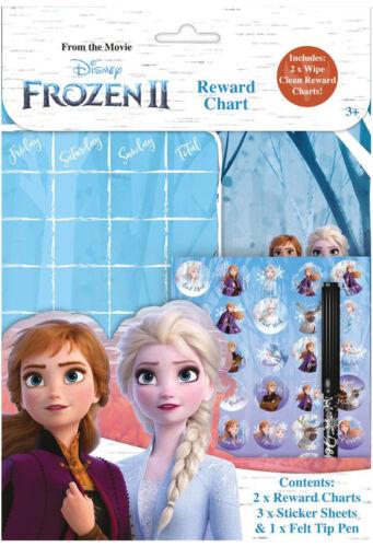 Disney Eiskönigin 2 Wipe-Clean Kinder Belohnung Diagramme mit Aufklebern /& Stift