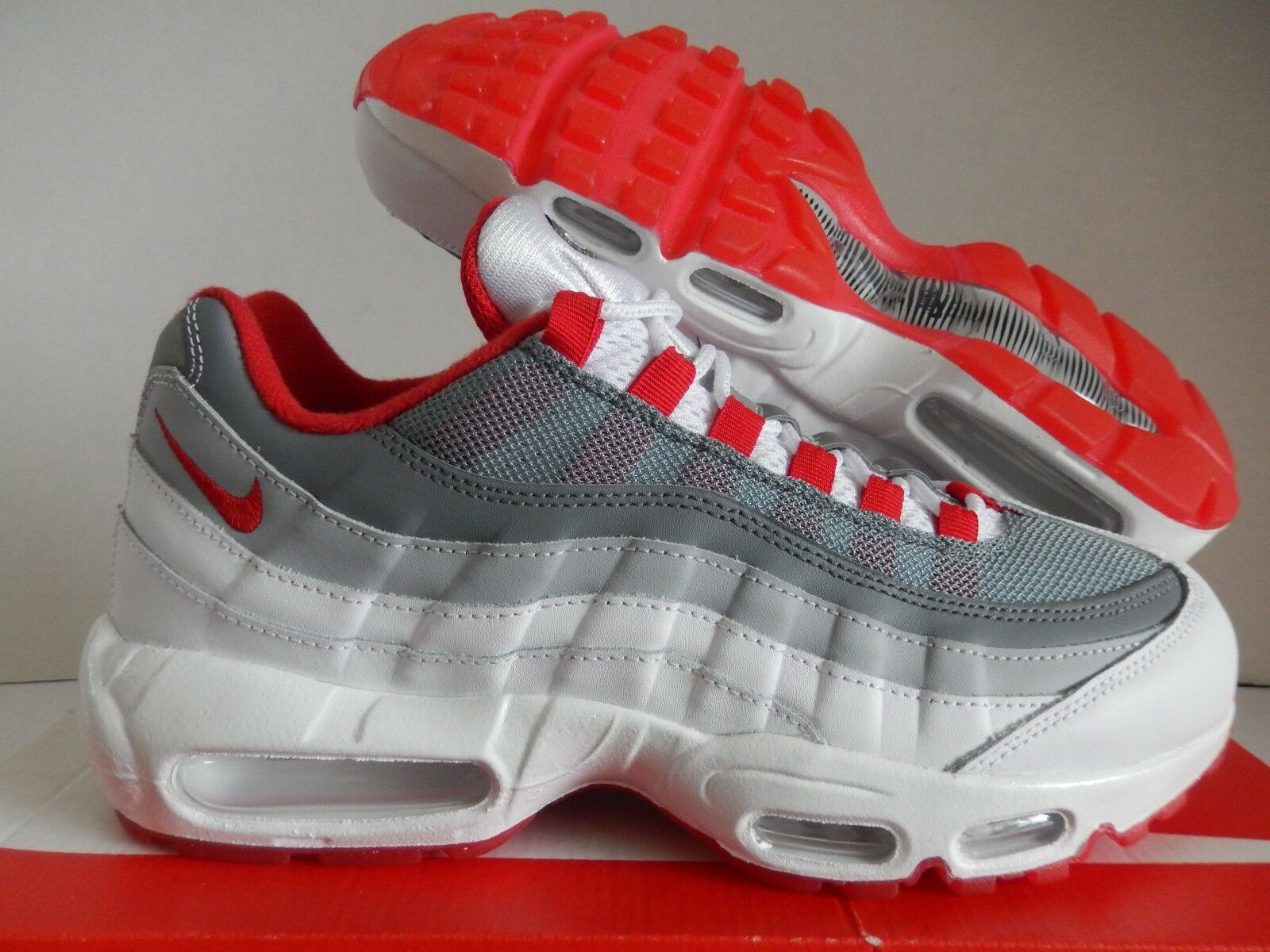 Nike air max 95 id white-grey-red sz - 818592-995]