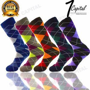 6-Pairs-Viva-Mens-Causal-Dress-Socks-With-Argyle-Diamond-Pattern-Size-10-13