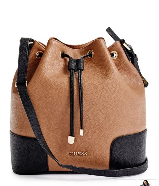 e04079f96aa8 GUESS Faux Leather Bucket Bag Handbag Crossbody Purse Two tone Brown Black