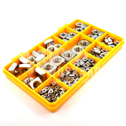 222 ASSORTED A2 STAINLESS STEEL SQUARE METRIC NUT NUTS M3 M4 M5 M6 M8 M10 KIT