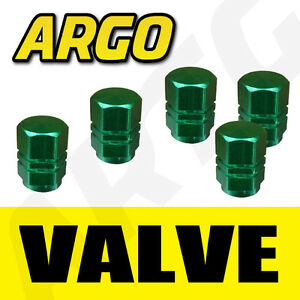 GREEN-SOLID-METAL-DUST-VALVE-CAPS-CAR-VAN-TRUCK-LORRY
