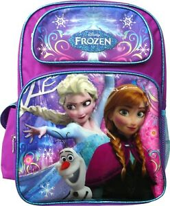 """Anna 16/"""" Disney Frozen Large Purple School Backpack for Girls Elsa and Olaf"""