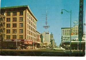 postcard az phoenix north central ave walgreens old cars valley