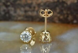 2-00-Ct-Round-Cut-Diamond-Solitaire-Stud-Earrings-14k-Yellow-Gold-Finish