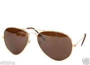 Aviator Sunglasses Gold Frame Brown Lens