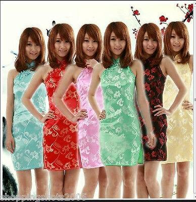 Sexy Women's Silk Cheongsam Wholesale Chinese Short Dresses Sleeveless Qi Pao