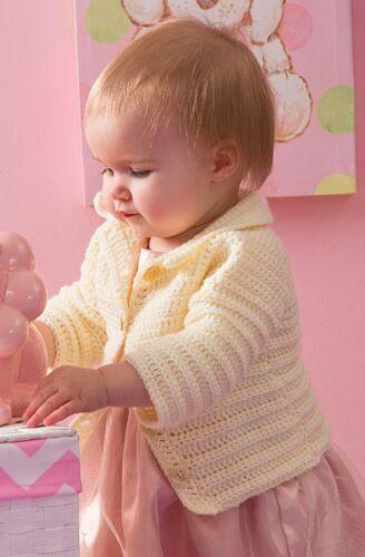 PO096 Crochet Pattern size 6, 12, 18 /& 24 months Baby Girls Cardigan