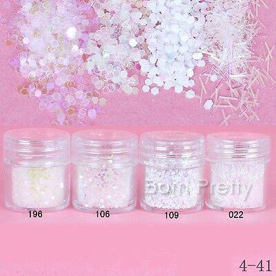 1mm White Clear Glitter Powder Hexagon Mini Stick Powder Sheets Tips Nail Art