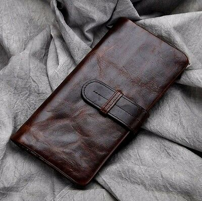 Men Vintage Genuine Leather Long Bifold Wallet Credit Card Holder Coin Purse