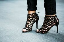 ZARA BLACK LACE UP OPEN WORK LEATHER HIGH HEEL ANKLE SHOES BOOT SANDALS