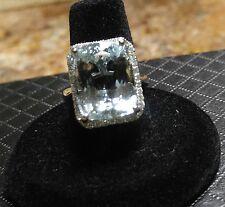 Diamond Cushion-Cut Aquamarine Ring. 14kt 12.74 Ct  Aquamarine. Big and Bold