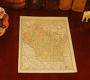 Original 1895 Antique Map WISCONSIN Waukesha Kenosha Appleton Madison Racine WI