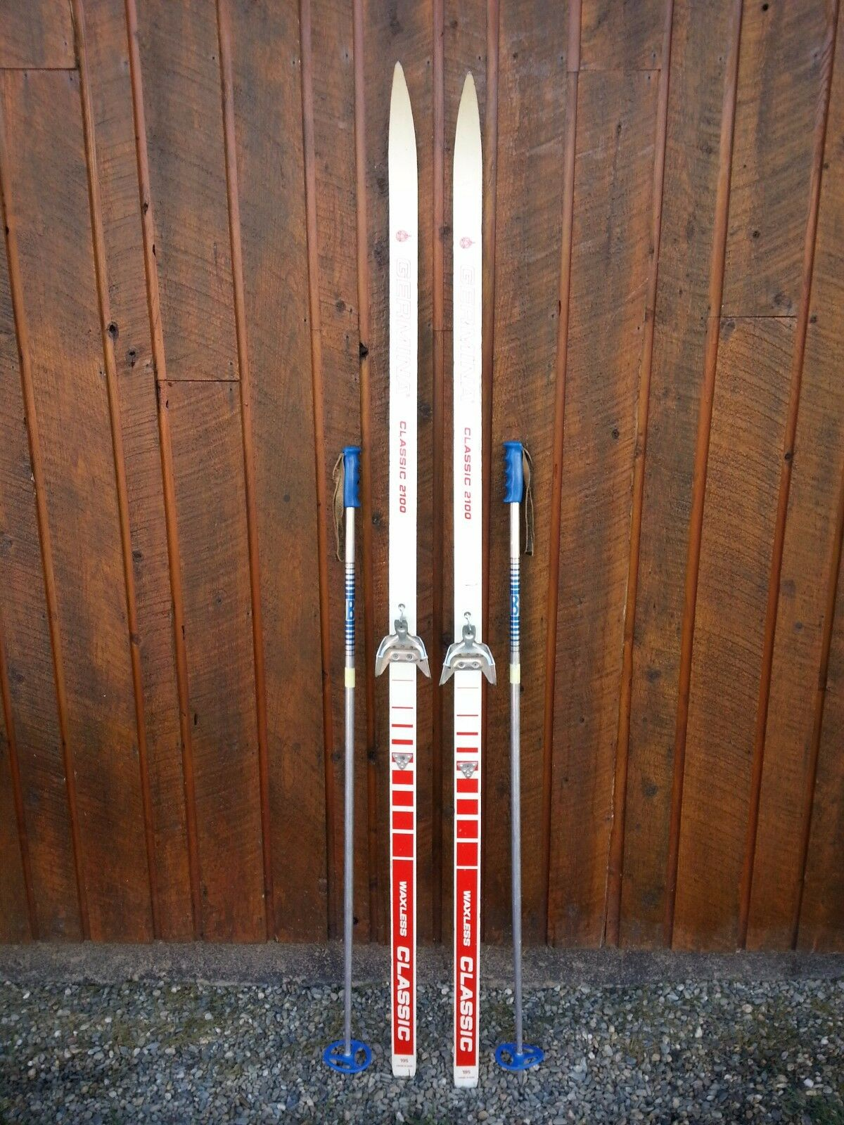 Ready to Use Cross Country 75  GERMINA 195 cm Skis WAXLESS Base +  Poles