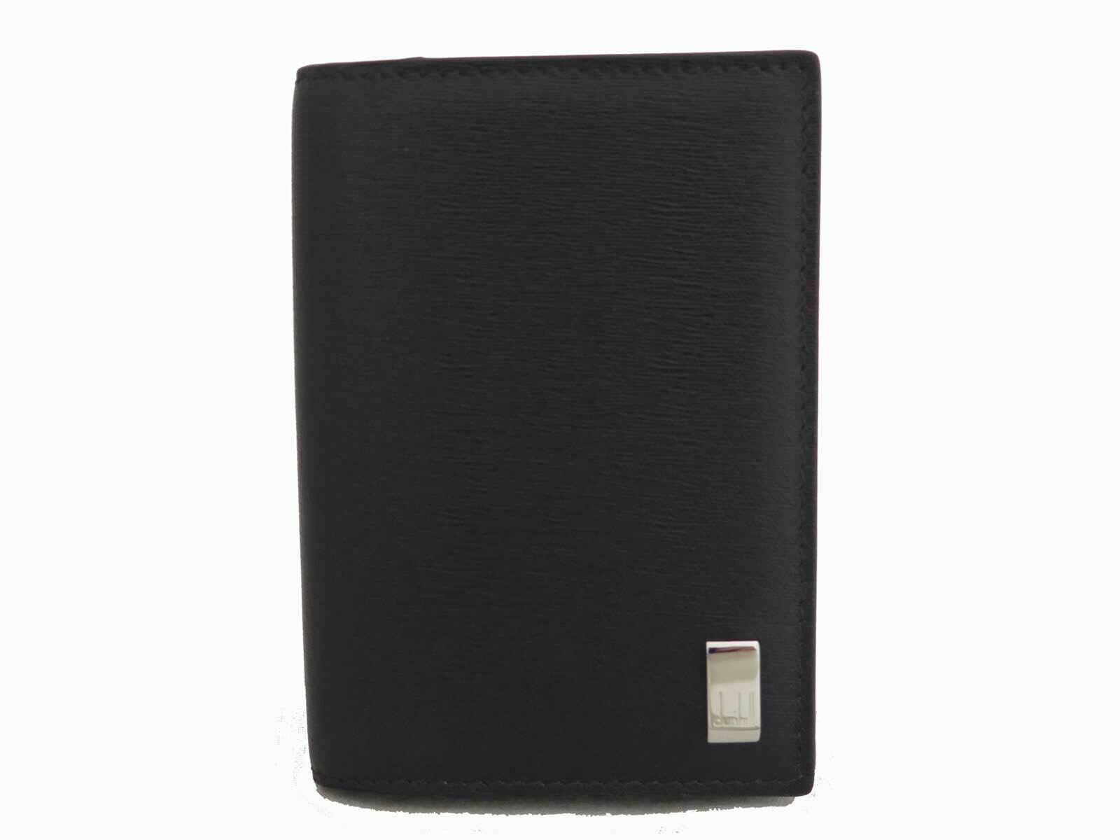 Auth dunhill Logo Card Case Holder Dark Brown Leather *MINT* - e48717f
