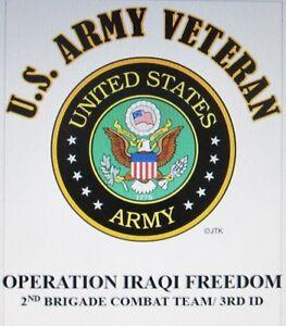 OPERATION IRAQI FREEDOM* 2ND BRIGADE COMBAT TEAM/ 3RD ID  W/ARMY EMBLEM*SHIRT
