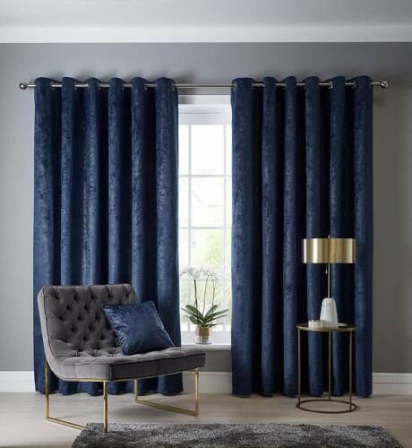 Yorkshire Linen Studio G Navarra blue//navy Eyelet Curtains 168 W x 229cm D
