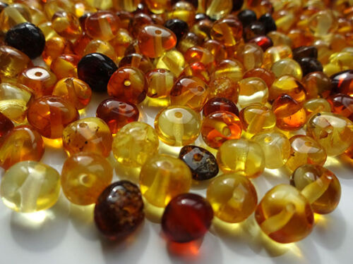 REAL POLISHED BALTIC AMBER HOLED LOOSE ROUND BEADS 10gr !!!