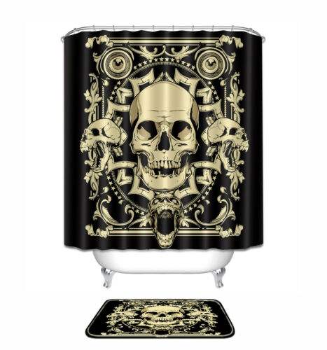 "60//72/"" Metal Cráneo Gótico Cool Halloween conjunto de Cortina de Ducha Baño Mat Alfombra"