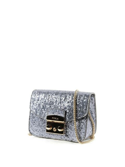 NWT FURLA 851137 Metropolis Mini Silver Acciaio Glitter Leather Crossbody  Purse 07b73f092534b