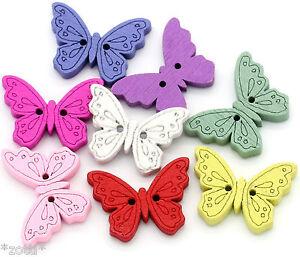 7-Piezas-Mariposa-24mm-Botones-de-Madera-Boton-Dos-Agujeros-Coser-Butterfly