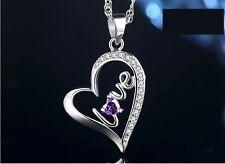Sterling Silver Love Purple Amethyst Heart Pendant Necklace Chain Gift Box E10