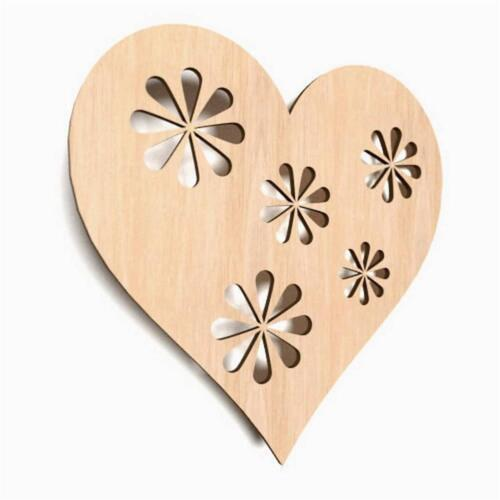 W26 10x Wooden Heart Shape Hearts Hanging Craft Wedding Blank Embellishment