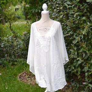 Blouse-caftan-tunique-Femme-blanc-T-42-44-46-boho-chic-resille-coton-ZAZA2CATS