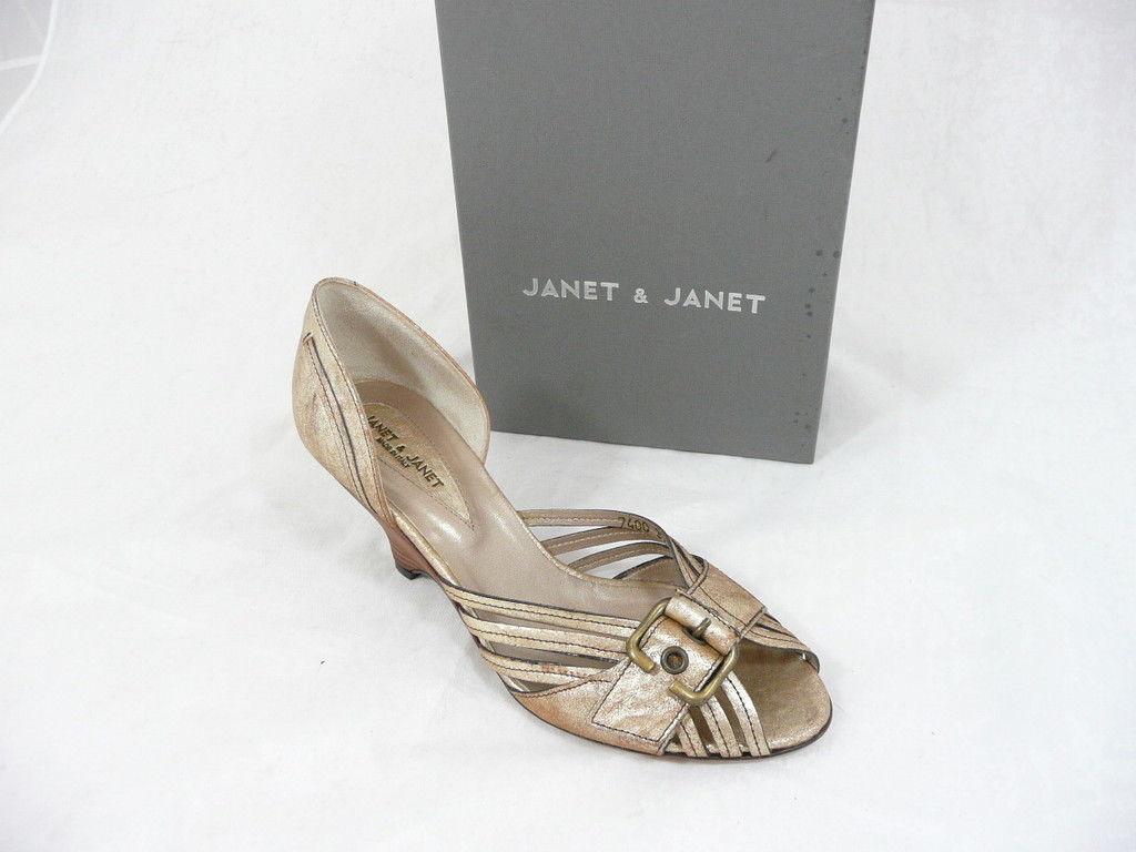 Janet & Janet cuña zapatos de salón sandalias platino nuevo nuevo platino 0b2008