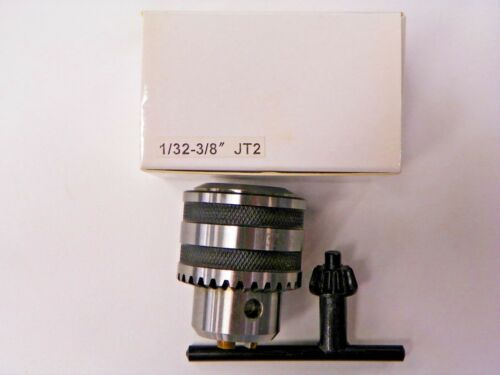 "JT2 1//32/"" TO 3//8/"" KEYED STEEL DRILL CHUCK JACOBS TAPERED MOUNT WITH KEY B963"