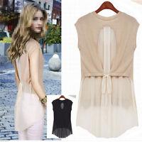 UK Women Summer Casual Chiffon Vest Shirt Tops Blouse Ladies Top UK Size 10 - 16