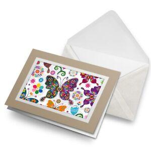 Greetings-Card-Biege-Pretty-Floral-Butterflies-2426