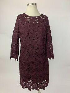 2a68fb2d827 Details about NEW Ann Taylor Loft Plum Purple Wine Lace Shift Dress 0 Lovely