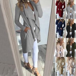 Female-Autumn-Winter-Models-Large-Lapel-Slim-Mid-length-Windbreaker-Jacket-Coat