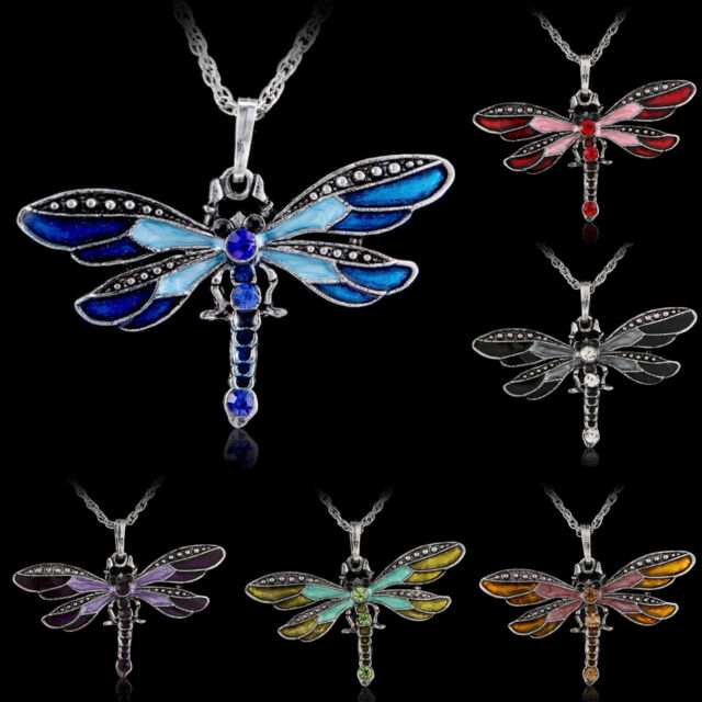 Retro Silver Dragonfly Crystal Pendant Long Sweater Chain Rhinestone Necklace