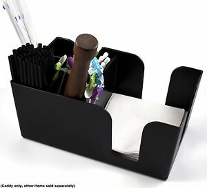 BLACK COUNTER TOP BAR/NAPKIN CADDIE 6-COMPARTMENT FOR SIP STRAWS, NAPKINS