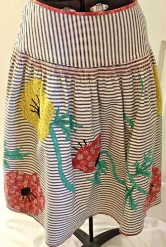 Vintage ANNA SUI Cotton Floral Striped Skirt Size