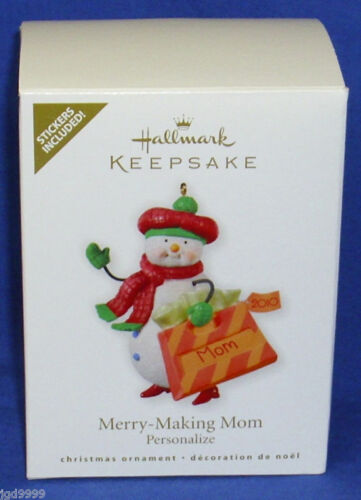 Hallmark Christmas Ornament Merry Making Mom 2010 Snowman Can Personalize Mother