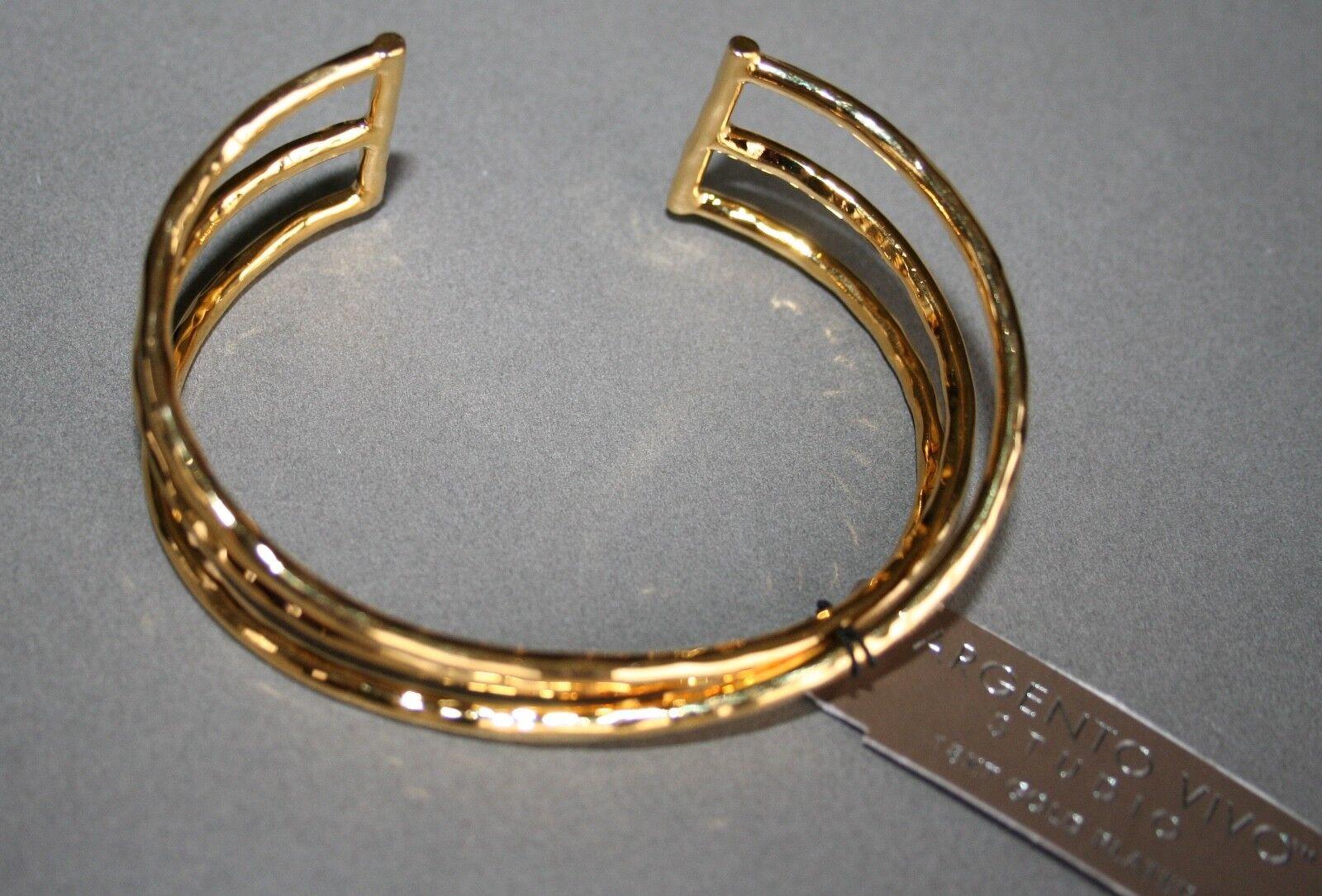 NWT- silver VIVO STUDIO HAMMERED 3 WIRE CUFF ADJUSTABLE BRACELET