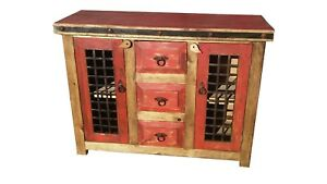 Image is loading Rustic-Reclaimed-Wood-Red-Wash-Dungeon-Doors-Bathroom-  sc 1 st  eBay & Rustic Reclaimed Wood Red Wash Dungeon Doors Bathroom Vanity | eBay