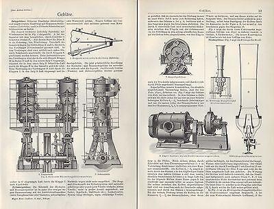 Lithografie 1905: Gebläse. Lederbalk Hochofen-jäger-roots-gebläse-maschine PüNktliches Timing