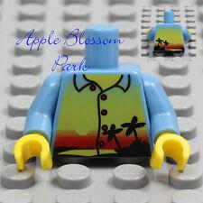 NEW Lego Boy/Girl Medium BLUE MINIFIG TORSO w/Yellow Island Sunset Print Shirt