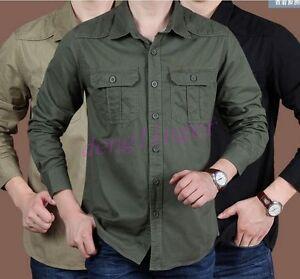 Mens-Europe-Work-Lapel-T-shirt-Tactical-Military-Casual-Long-Sleeve-Tops-Shirts